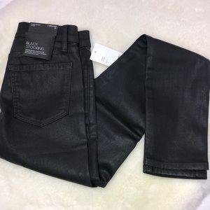 J Brand Black Stocking Skinny Metallic Jeans